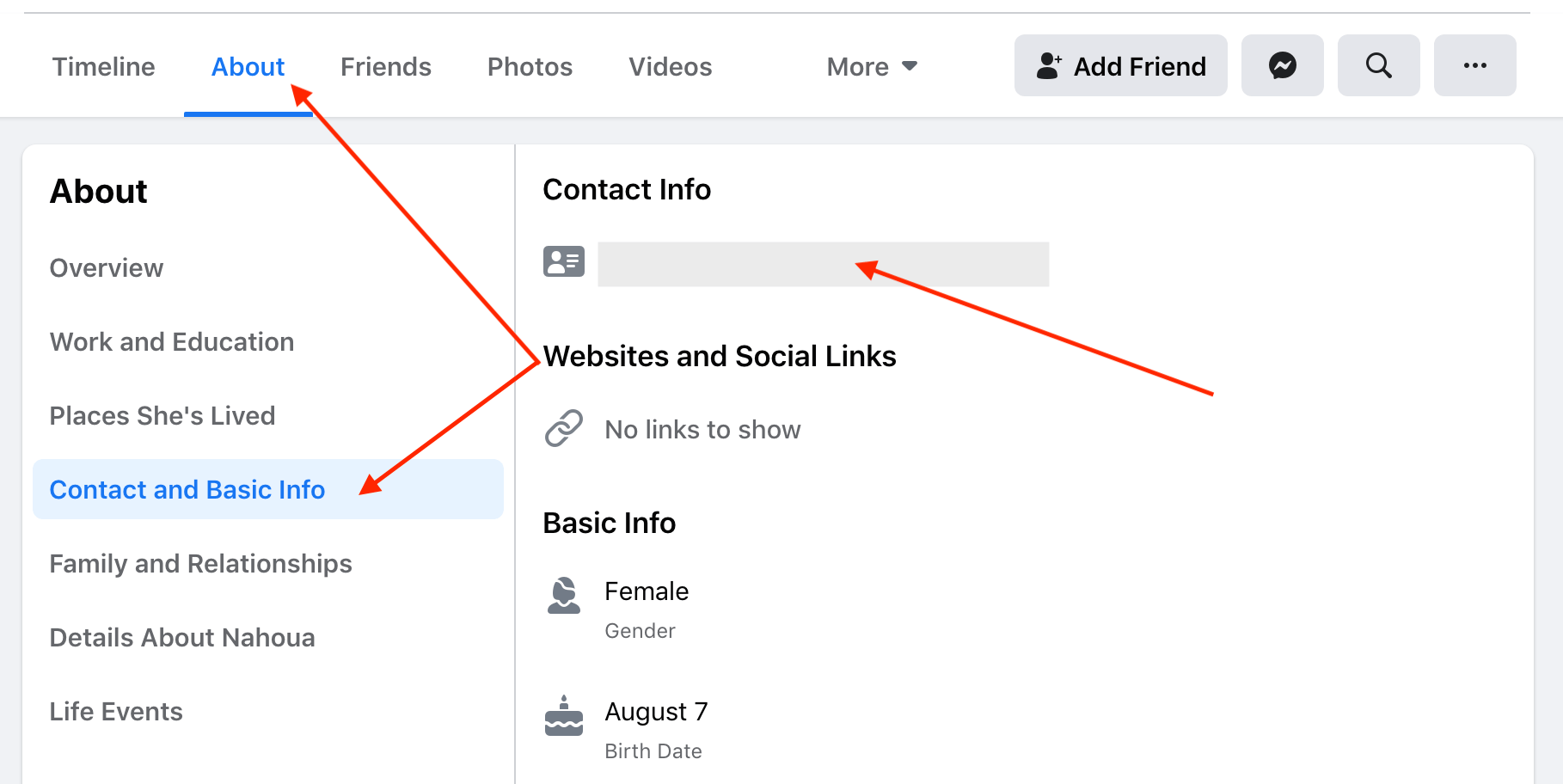 Facebook about tab